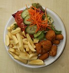 Wholetail Breaded Scampi with chips & salad