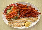 Grilled Cod or Haddock with sweet potato chips & salad