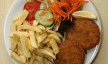 Fishcakes with chips & salad