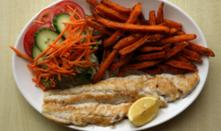 Grilled Haddock or Cod & Chips with salad garnish