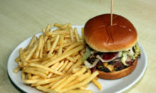 Ruby Red Beef Burger with salad, relish & chips
